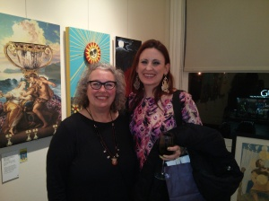 Shelley Carter (left) and me at the Elora Tarot reception Jan 11, 2014