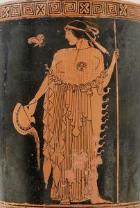 Athena holding a helmet and a spear, with an owl. Attic red-figure lekythos. Metropolitan Museum of Art.