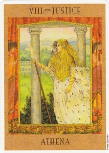 Beautiful depiction of Athena as Justice from the Goddess Tarot