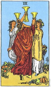 The Three of Cups from the Rider-Waite-Smith Tarot Deck