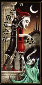 6 of Pentacles from the Deviant Moon Tarot