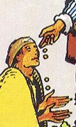 Detail, beggar from RWS 6 of Pentacles